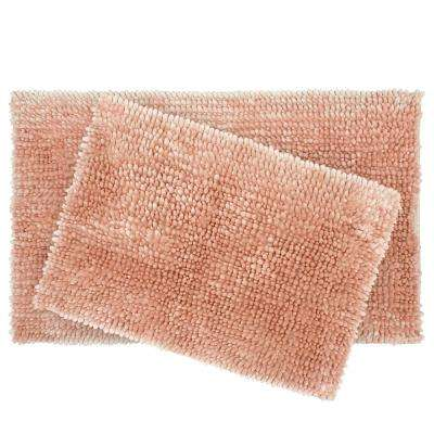 Butter Chenille 17 in. x 24 in./20 in. x 34 in. 2-Piece Bath Mat Set, Blush