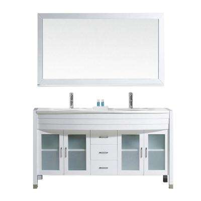 Ava 63 in. W Bath Vanity in White with Stone Vanity Top in White with Round Basin and Mirror and Faucet