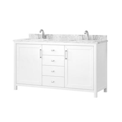 Rockleigh 60 in. W x 22 in. D Bath Vanity in White with Marble Vanity Top in Carrara White with White Basin