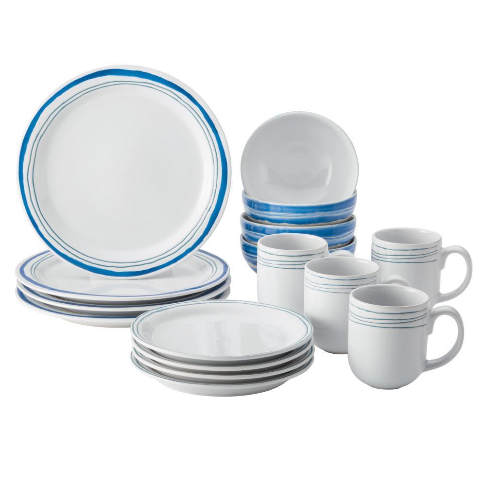 16-Piece Brushstrokes Aqua Stoneware Dinnerware Set