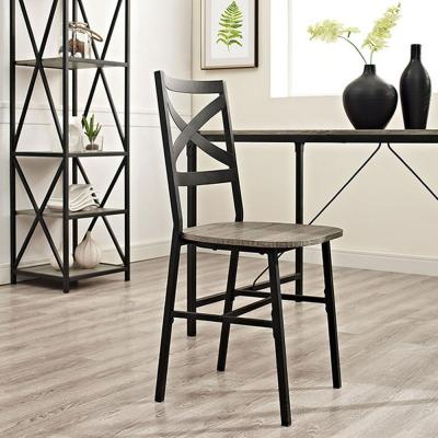 Angle Iron X-Back Driftwood Metal and Wood Dining Chairs (Set of 2)
