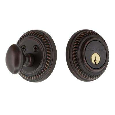 Rope Rosette 2-3/4 in. Timeless Bronze Backset Single Cylinder Deadbolt