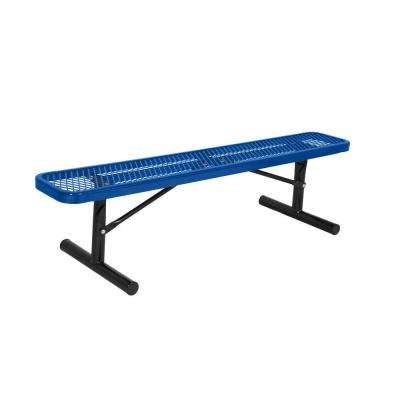 Portable 6 ft. Blue Diamond Commercial Park Bench without Back