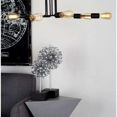 34 in. Black Ceiling Light with 6-Light Bulb Holders Attached to Iron Rods Bent in Random