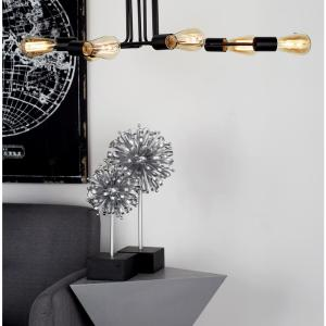 34 inch Black Ceiling Light with 6-Light Bulb Holders Attached to Iron Rods...
