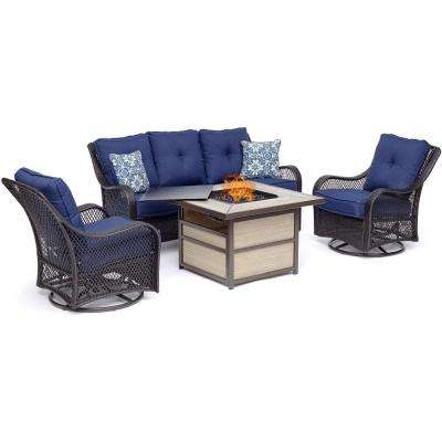 Orleans 4-Piece Wicker Patio Seating Set with Fire Pit Table with Navy Blue Cushions