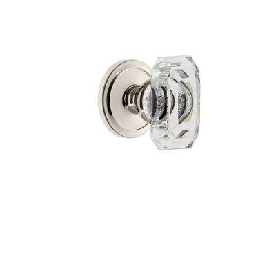 Circulaire Rosette Double Dummy with Baguette Crystal Door Knob in Polished Nickel