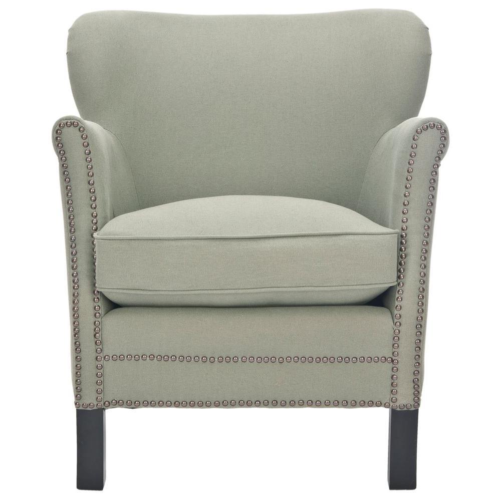 Jenny Sea Mist/Black Linen Arm Chair