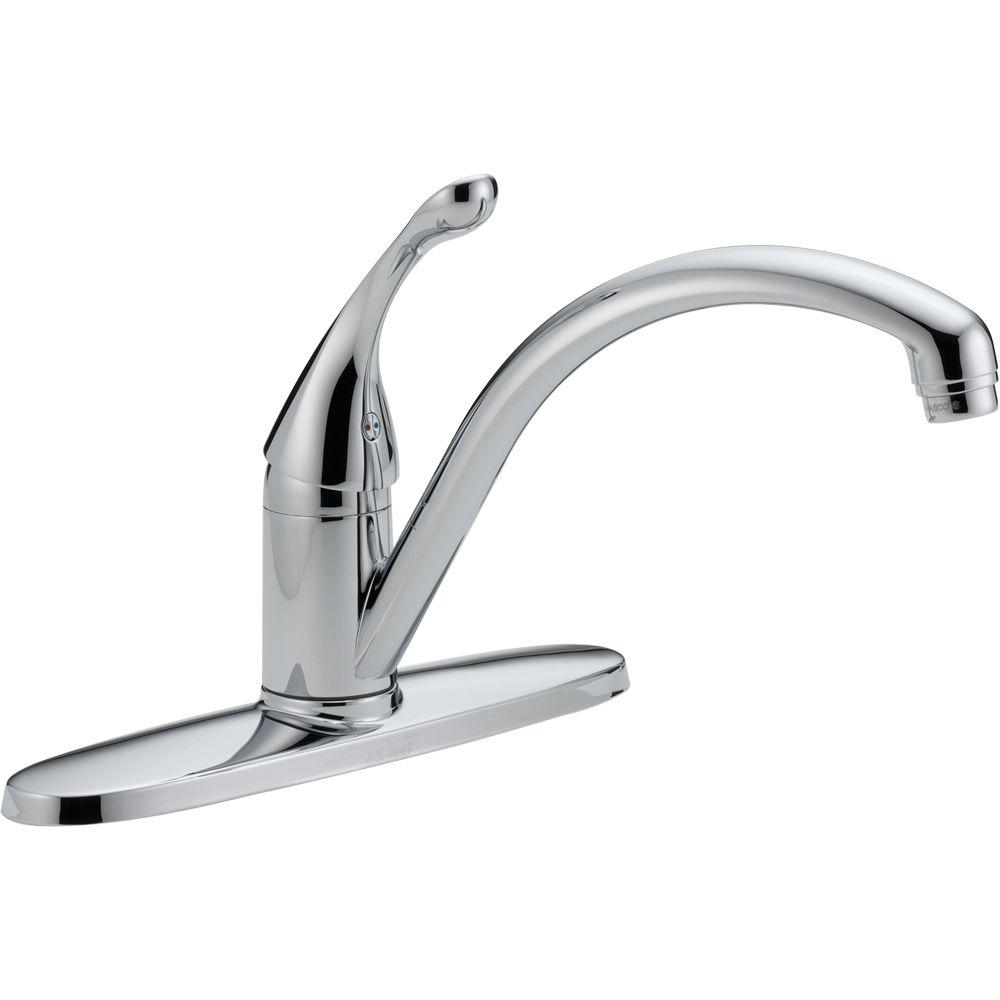 Delta Collins Single-Handle Standard Kitchen Faucet with Water-Efficient Aerator in Chrome