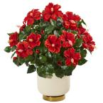 22 in. Hibiscus Artificial Plant in White Bowl