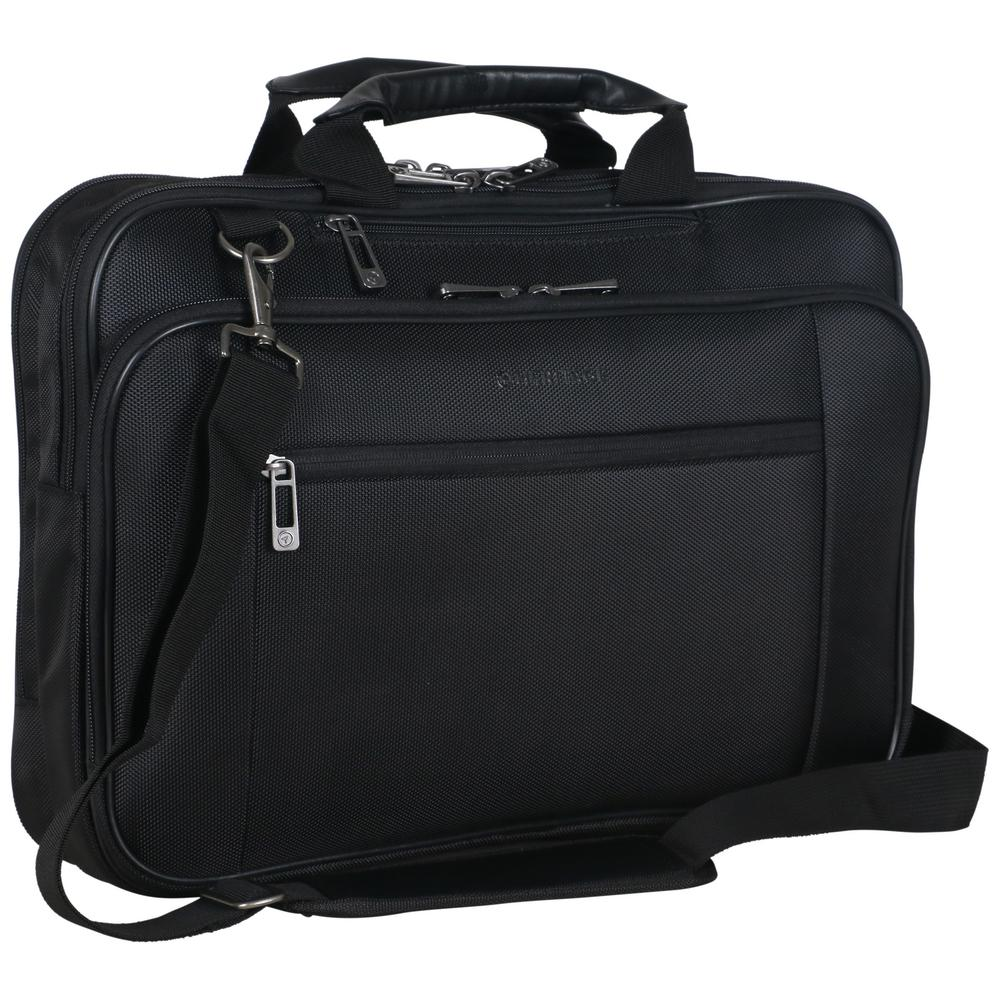 Heritage Black Multi Pocket 1680d Polyester Dual Compartment Top Zip 15 6in Laptop Case Business Computer Portfolio 830675 The Home Depot