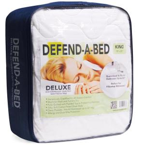 Click here to buy  Deluxe Cal King-Size Quilted Waterproof Mattress Pad and Protector.