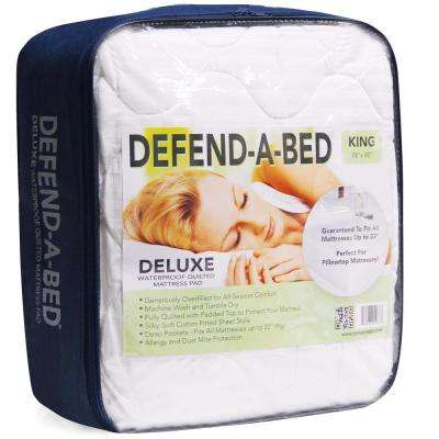 Deluxe Cal King-Size Quilted Waterproof Mattress Pad and Protector