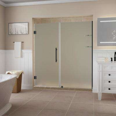Belmore GS 57.25  to 58.25  x 72  Frameless Hinged Shower Door with Frosted Glass and Glass Shelves in Oil Rubbed Bronze