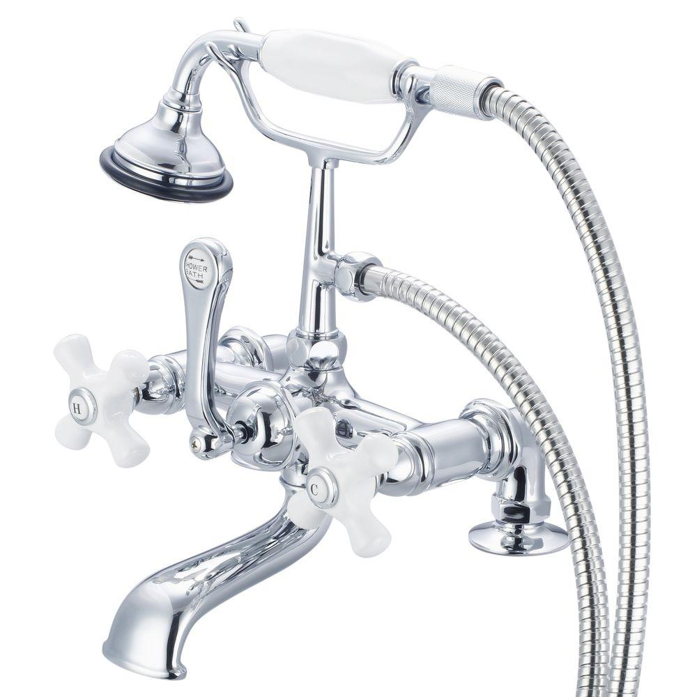Water Creation 3-Handle Vintage Claw Foot Tub Faucet with Hand Shower and Porcelain Cross Handles in Triple Plated Chrome