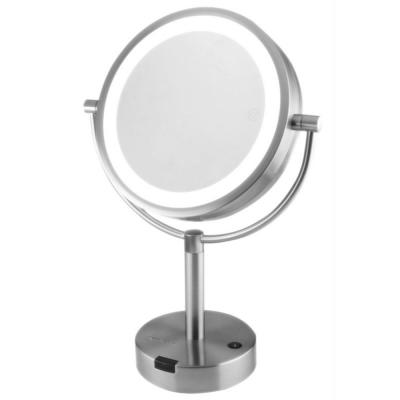 Small Nickel Brushed Metal Lighted Tilting Glam Mirror (17.5 in. H X 7 in. W)