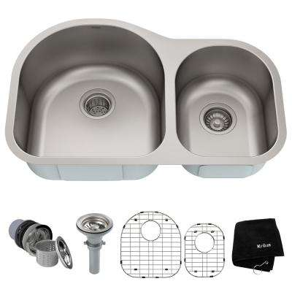 Premier Undermount Stainless Steel 31 in. 60/40 Double Bowl Kitchen Sink