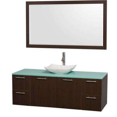 Amare 60 in. Vanity in Espresso with Glass Vanity Top in Green, Marble Sink and 58 in. Mirror