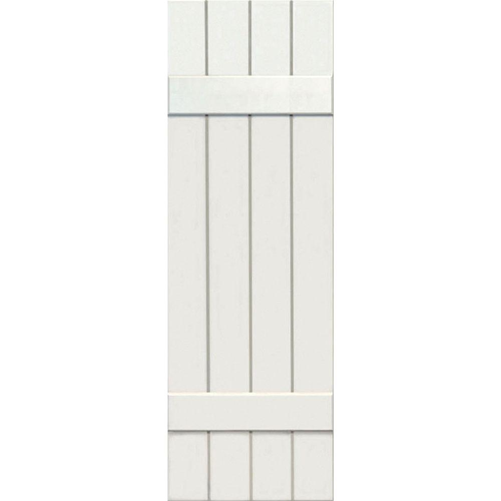 Ekena millwork 15 in x 56 in exterior composite wood board and batten shutters pair white for Exterior wood shutters home depot