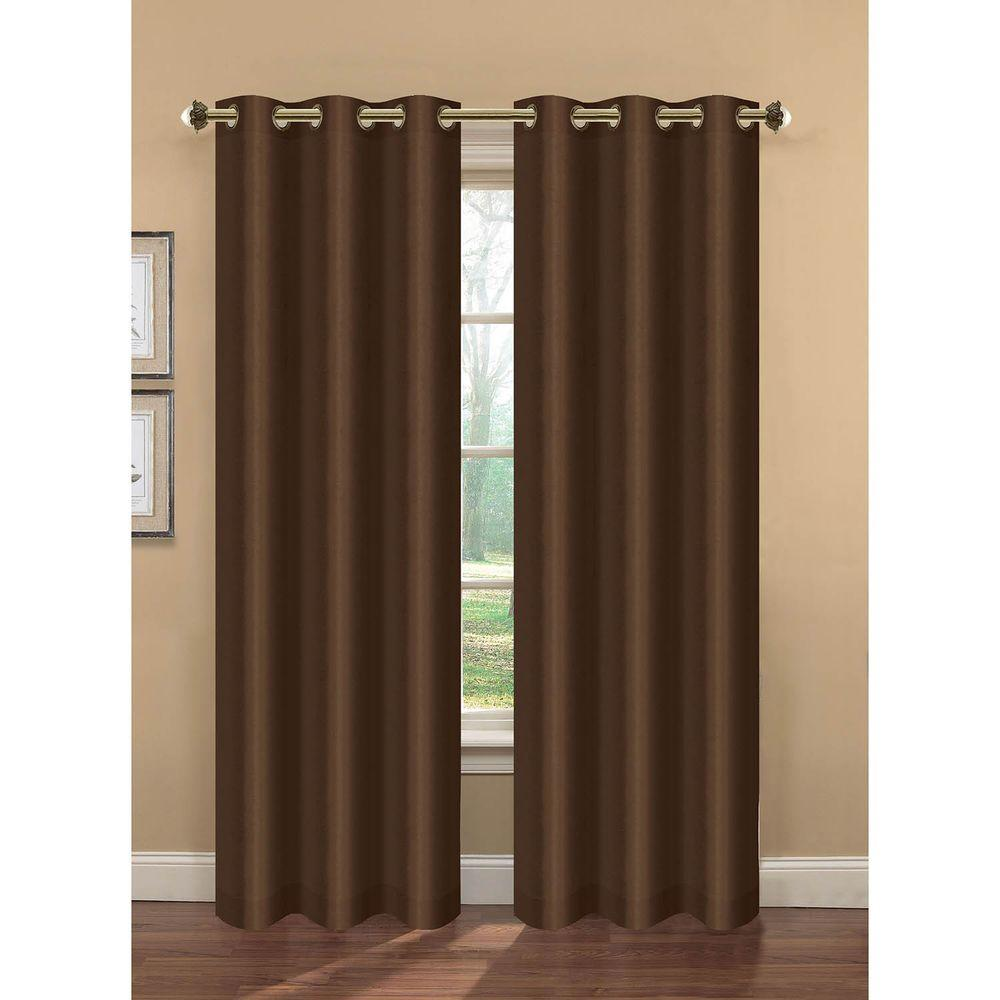 Semi-Opaque Camilla Faux Silk 84 in. L Room Darkening Grommet Curtain