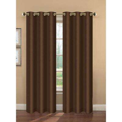 Semi-Opaque Camilla Faux Silk Room Darkening Lined Grommet Curtain Panel