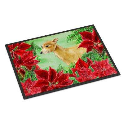 18 in. x 27 in. Indoor/Outdoor Italian Greyhound Poinsettas Door Mat