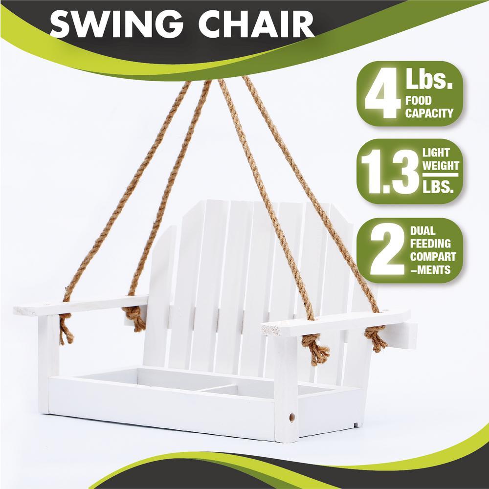 15 in. White Swing Wood Bench Bird Feeder