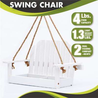 15 in. White Swing Wood Bench Bird Feeder