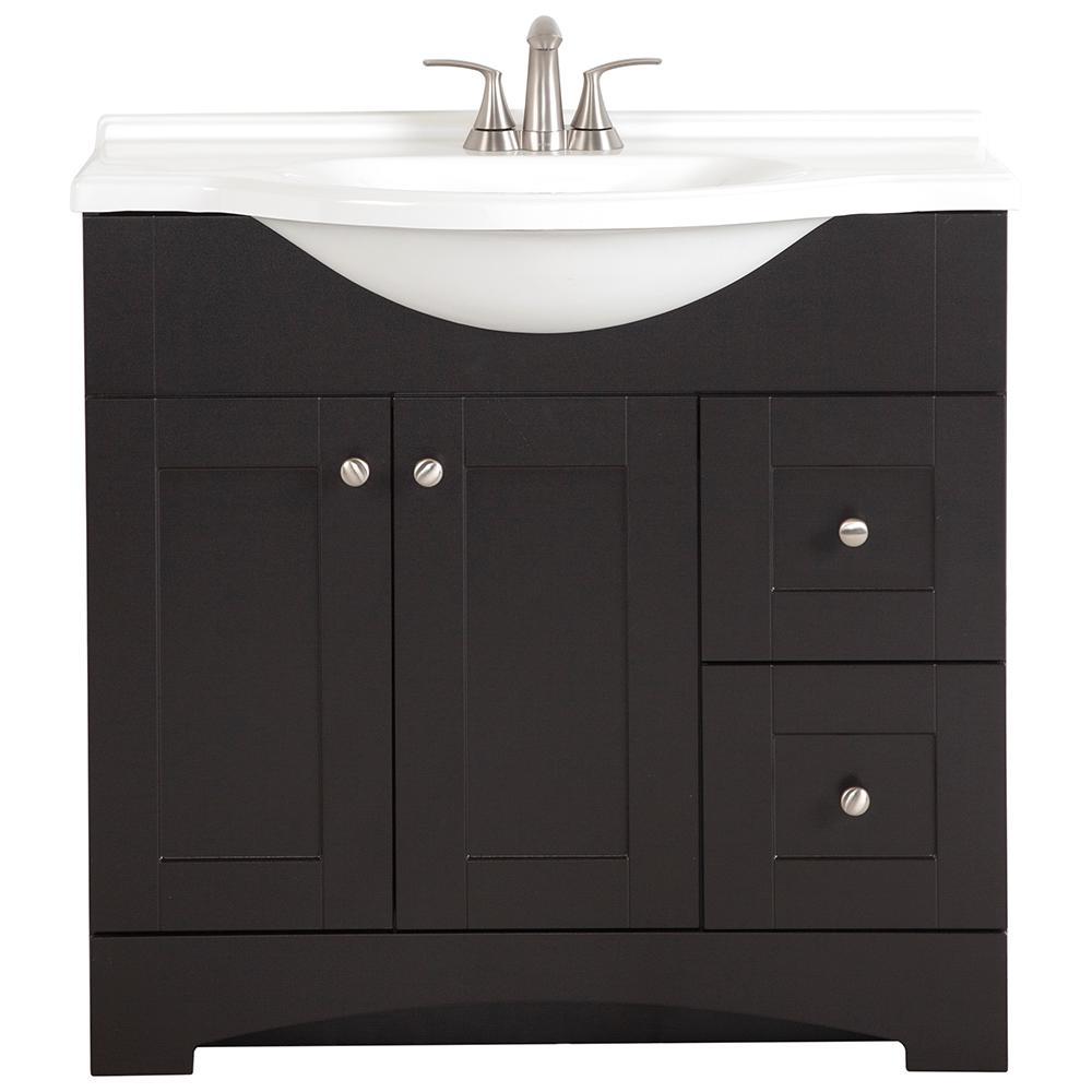 Del Mar 37 in. W x 19 in. D Bath Vanity in Espresso with Vanity Top in White and MOEN Faucet