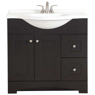 Del Mar 37 in. W x 19 in. D Bath Vanity in Espresso with Vanity Top in White and MOEN Faucet