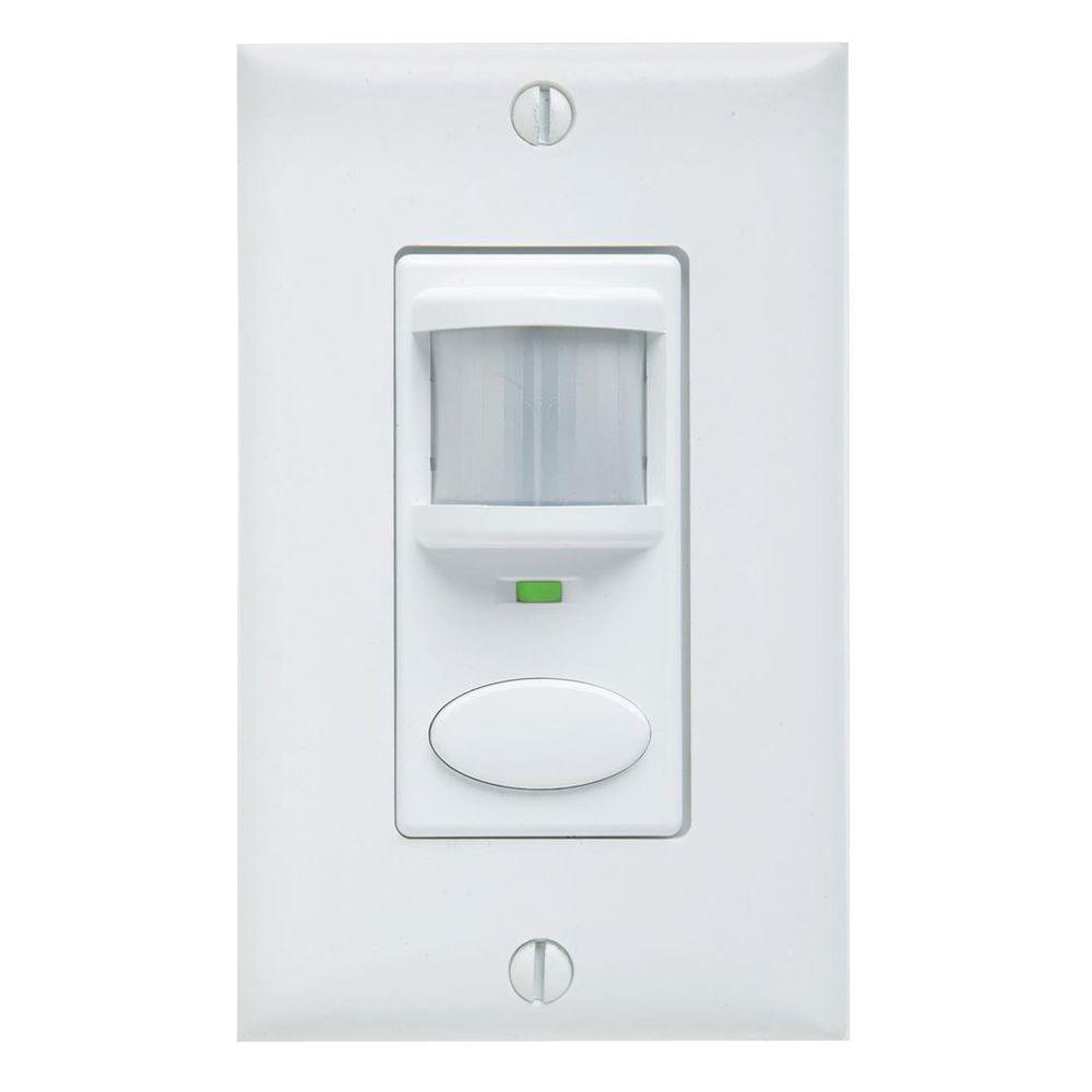 Decorator Vacancy Motion Sensing Wall Switch - White
