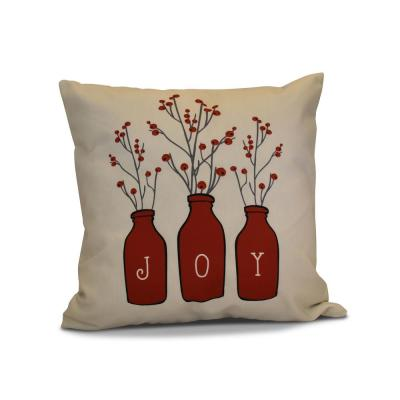 Joy Holiday Throw Pillow in Red