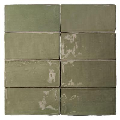 Catalina Kale 3 in. x 6 in. x 8 mm Polished Ceramic Subway Wall Tile (5.38 sq.ft./case)