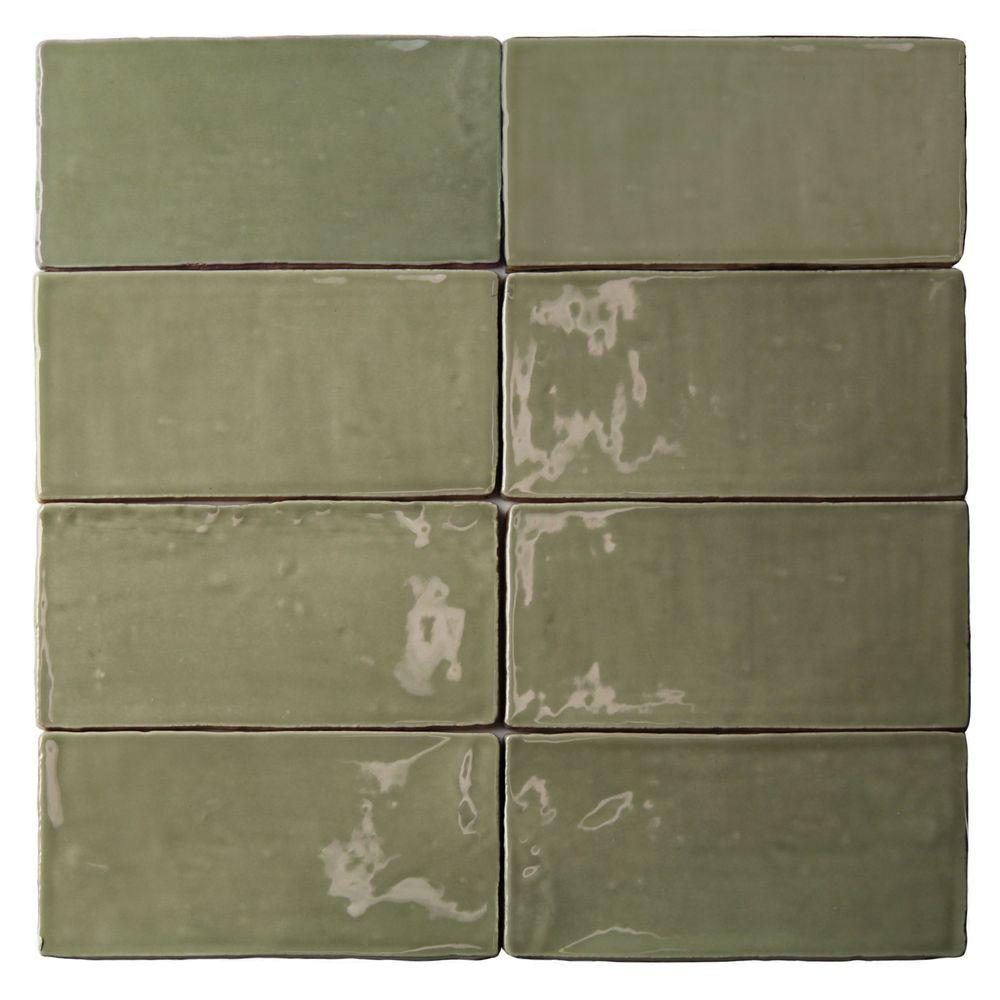 3x6 ceramic tile tile the home depot catalina kale 3 in x 6 in x 8 mm ceramic wall subway tile dailygadgetfo Choice Image