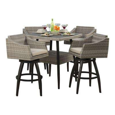Cannes 5 Piece All Weather Wicker Patio Bar Height Dining Set With Slate  Grey