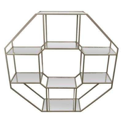 36 in. Champagne Metal Wall Rack with Mirrors