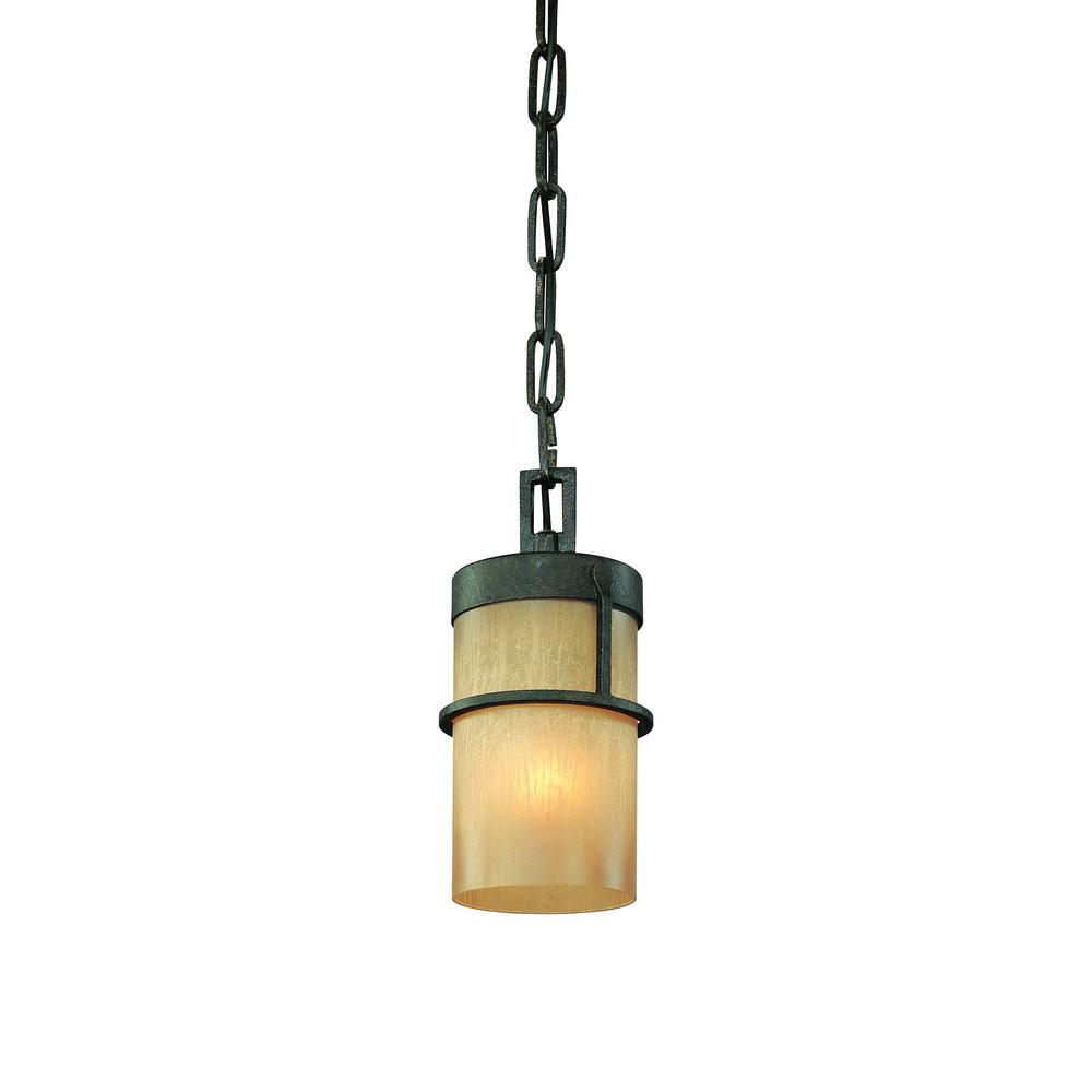 Troy Lighting Bamboo 1 Light Bronze With Natural Slate Pendant