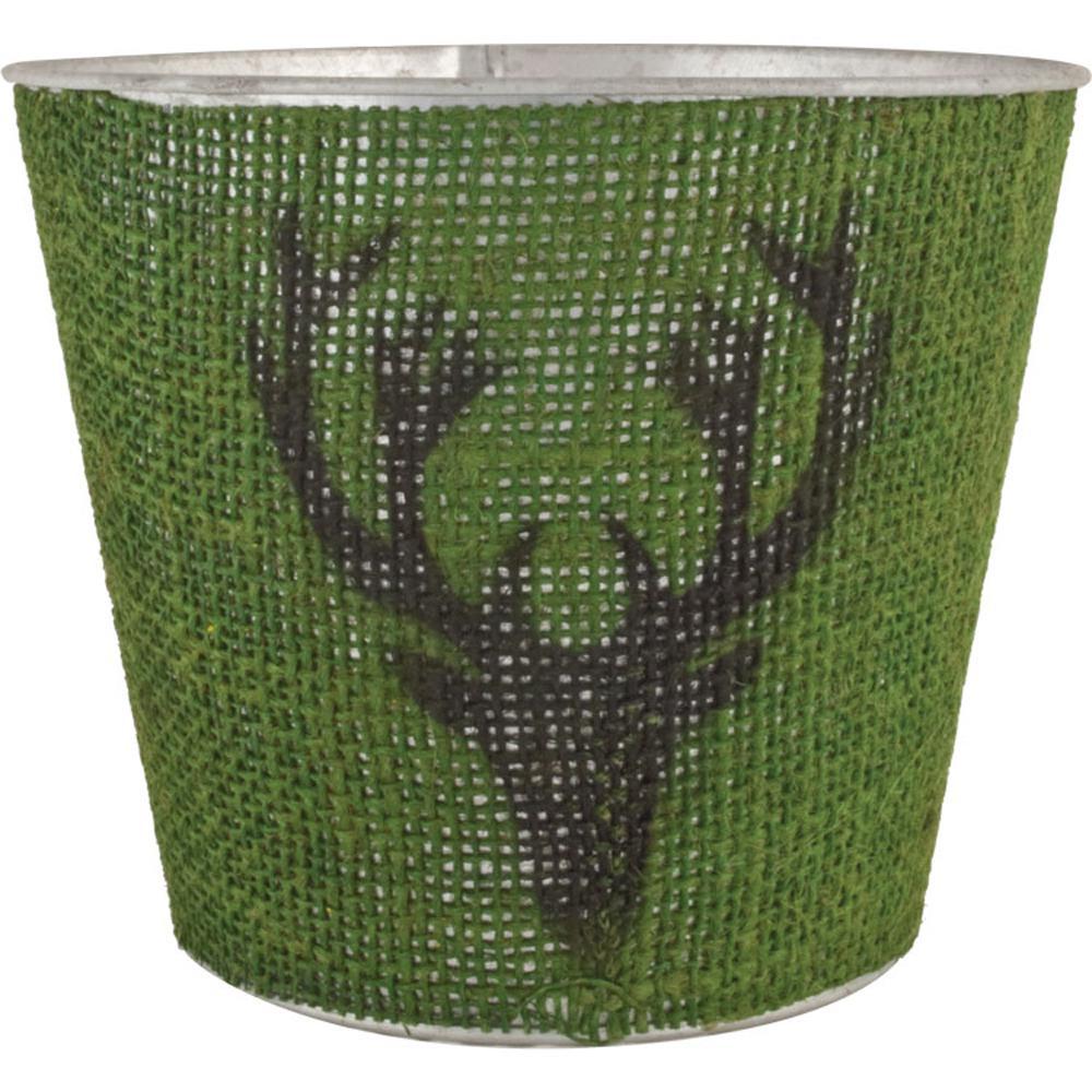Jute Reindeer 7 in. Dia. Juniper Tin Pot