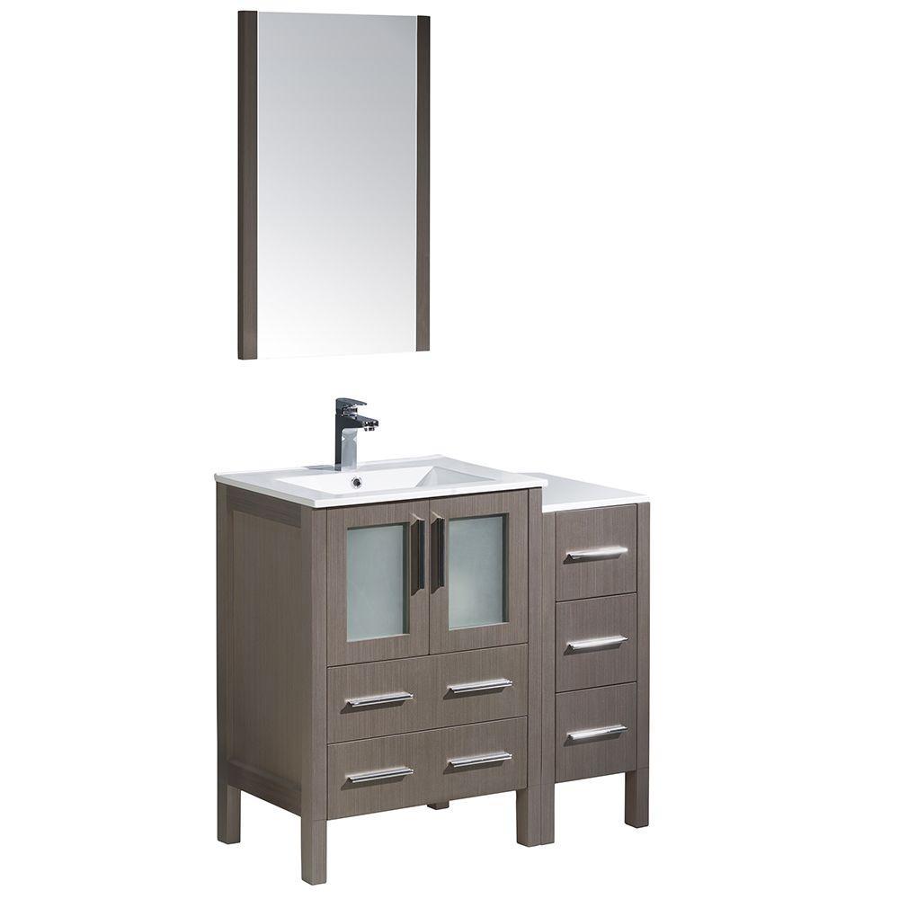 Torino 36 in. Vanity in Gray Oak with Ceramic Vanity Top