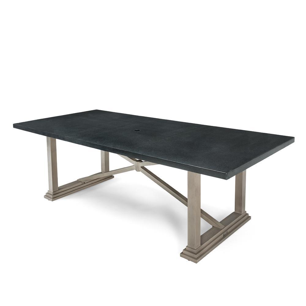 Blue Oak Rectangular Aluminum Natural Stone Top Outdoor Dining Table