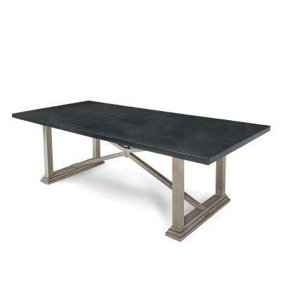 Saylor Rectangular Aluminum Natural Stone Top Outdoor Dining Table