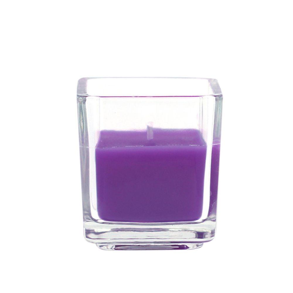 Zest Candle 2 in. Purple Square Glass Votive Candles (12-Box)