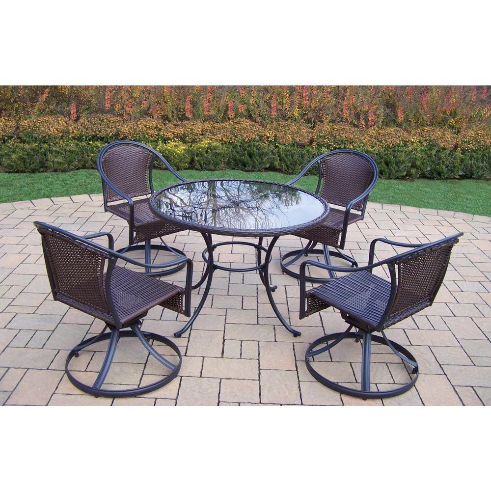Fashionable All Weather Outdoor Kitchen Ideas One And Only: Oakland Living Black 5-Piece Wicker Outdoor Dining Set