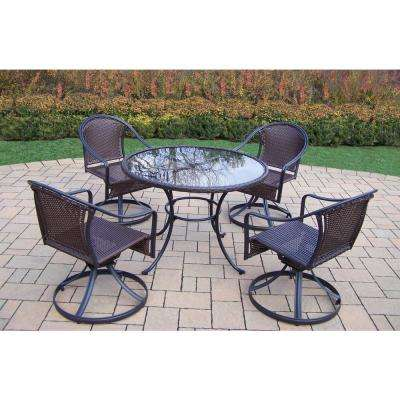 Black 5-Piece Wicker Outdoor Dining Set without Cushions