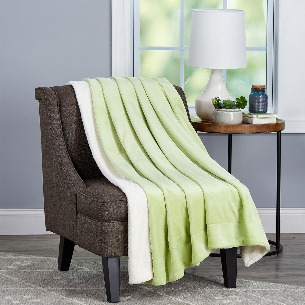 Aloe Green And White Throw Blanket