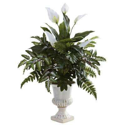 Mixed Greens and Spathyfillum with Decorative Urn