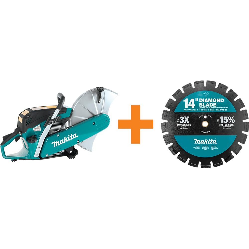 Makita 14 in. 61 cc Gas Saw with bonus 14 in. Segmented Rim Dual Purpose Diamond Blade