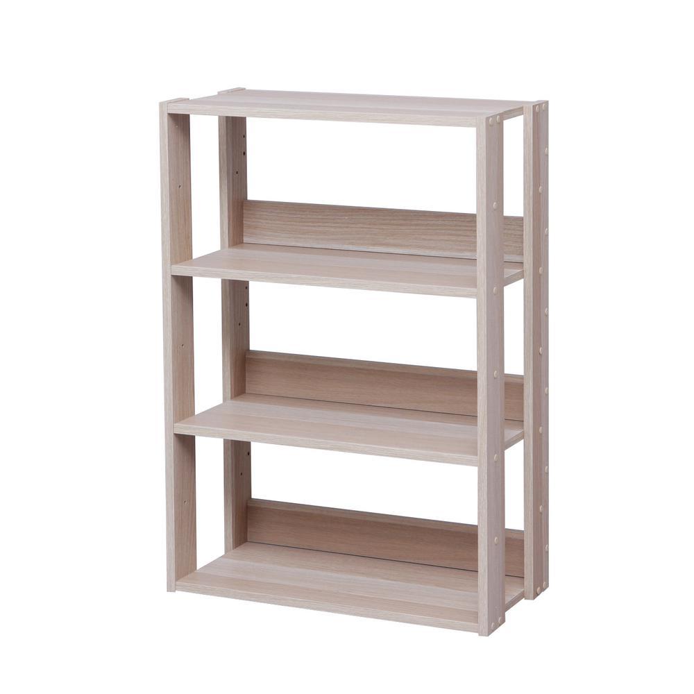 Mado Light Brown 3-Shelf Wide Open Wood Shelving Unit