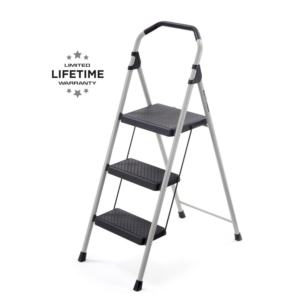 GorillaLadders Gorilla Ladders 3-Step Lightweight Steel Step Stool Ladder with 225 lbs. Load Capacity Type II Duty Rating