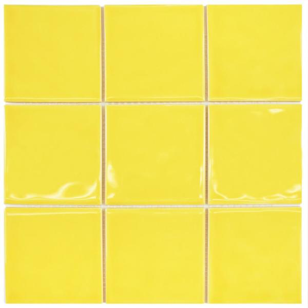 Twist Square Yellow Lemon 11-3/4 in. x 11-3/4 in. Ceramic Mosaic (9.79 sq. ft. /Case)